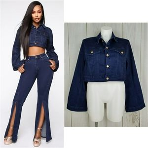 Fashion Nova Cardi B. Flared Sleeve Jean Jacket
